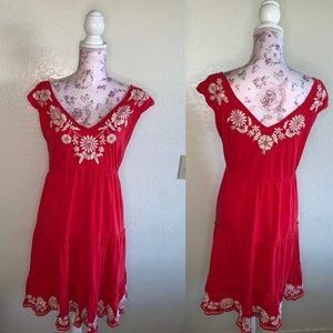 Johnny was red short sleeve embroidered dress